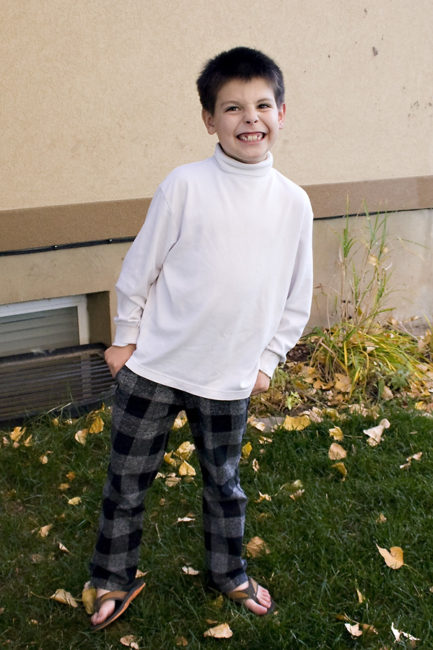 He is loving the pants! Check out his jack-o-lantern smile!